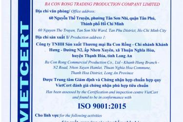 BA CON RỒNG ĐẠT CHỨNG NHẬN ISO 9001:2015